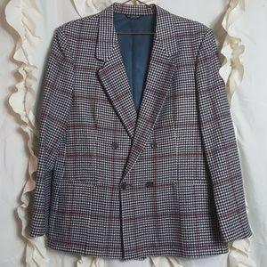 Vtg Houndstooth cashmere navy cream button blazer
